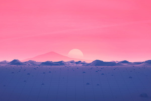 Hotizons Sunset Polygon Surface Mountains 4k Minimalism Wallpaper