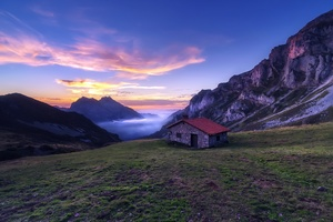 House In The Mountains Sunlight Nature Landscape Wallpaper