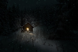 House In Woods Winter Cold Wallpaper
