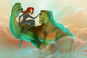 Hulk And Black Widow Artwork Wallpaper