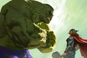 Hulk And Thor Artwork Wallpaper
