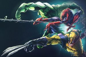 Hulk Spider Man Wolverine 8k Wallpaper