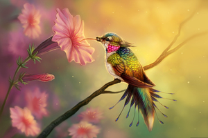 Hummingbird Fantasy Abstract Fractal