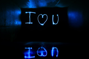 I Love You Light Streaks Long Exposure Wallpaper