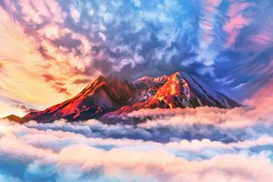 Illustration Artwork Sky Mountains Clouds 4k Wallpaper