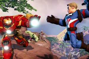 Iron Hulkbuster And Captain America In Marvel Battlegrounds Wallpaper