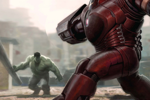 Iron Hulkbuster And Hulk Fight Avengers Infinity War 2018 Artwork