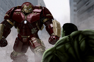 Iron Man Hulkbuster VS The Hulk 4k Artwork Wallpaper