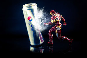Iron Man Kicking Pepsi Can