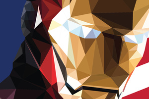 Iron Man Low Poly Art Wallpaper
