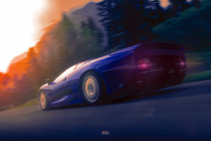 Jaguar XJ220 Art Wallpaper