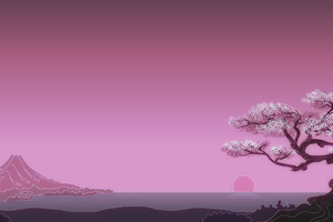 Japenese Mountains Sunset Trees Artwork Wallpaper