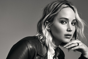 Jennifer Lawrence Monochrome 4k Wallpaper