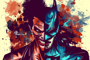 Joker And Batman Faces Artwork Wallpaper