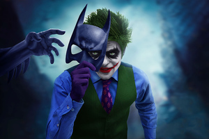 Joker With Batman Mask Off Wallpaper