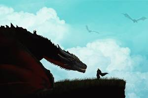 Jon Snow And Khalessi Dragon Artwork Wallpaper