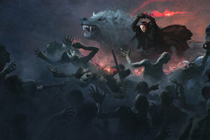 Jon Snow With Wolf Attacking White Walkers Artwork