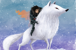 Jon Snow Wolf Digital Art Wallpaper