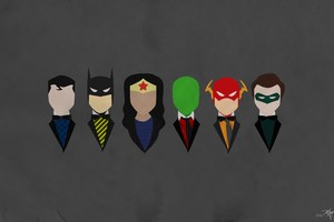 Justice League Characters Dressed Minimalism Wallpaper