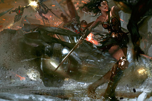 Justice League Flash Wonder Woman Aquaman Artwork Wallpaper