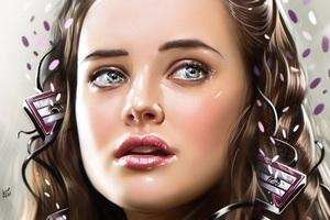 Katherine Langford 13 Reasons Why Illustration Wallpaper