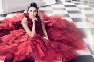 Kendall Jenner In Nice Red Dress Wallpaper