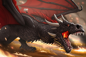 Khaleesi And Dragon Cartoon Artwork