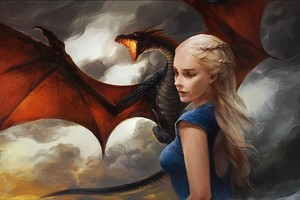 Khaleesi Game of Thrones With Dragon Artwork