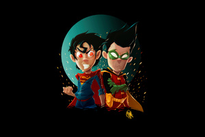 Kid Superman And Robin Wallpaper
