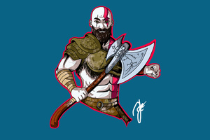 Kratos God Of War Artwork 4k