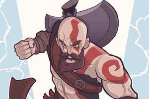 Kratos God Of War Digital Art 4k