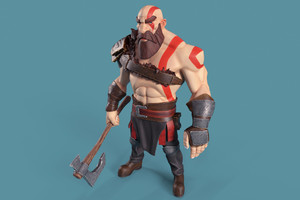 Kratos God Of War Digital Art