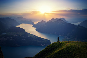 Lake Lucern Landscape Mountains Wallpaper