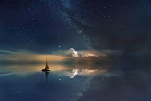 Lake Mirror Reflection Stars Boat Milky Way 5k Wallpaper