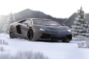 Lamborghini Aventador In Ice 5k Wallpaper