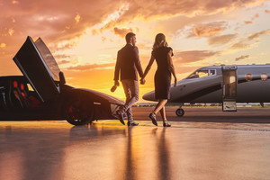 Lamborghini Business Private Jet Married Couple Wallpaper