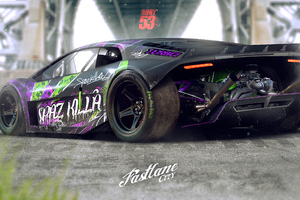 Lamborghini Fat Tyres Digital Art