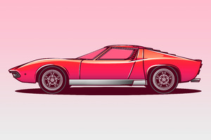 Lamborghini Miura Vector Illustration 5k Wallpaper