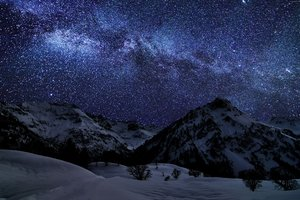 Landscape Mountains Galaxy Wallpaper