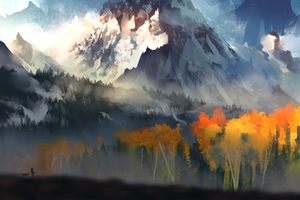 Landscape Scenery Moutain Autumn Digital Art 5k Wallpaper