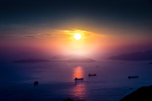 Landscape Sunrise Boat Mist Mountain Horizon Wallpaper