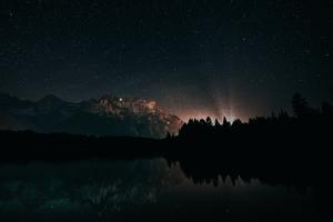 Last Back Light Of Sun Landscape Starry Night Wallpaper