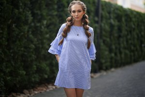 Light Blue Dress Model Outdoors Wallpaper
