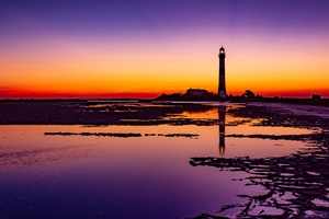Lighthouse Colorful Sunrise 4k Wallpaper