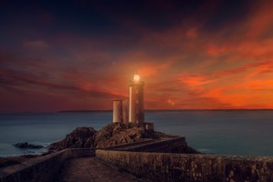 Lighthouse Sunset Scene