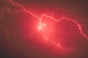 Lightning Storm Red Sky 5k Wallpaper