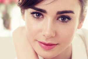 Lily Collins Closeup Face Wallpaper