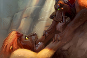 Lion King Vs Lion Digital Art Wallpaper