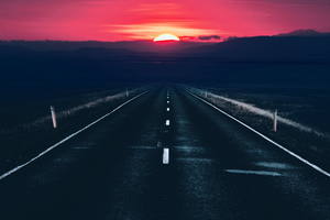 Long Alone Dark Road Sunset View