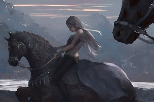 Long Hair Girl On Horse By Wlop Wallpaper